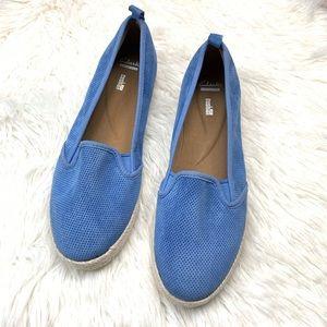 Clark's Azella Major Light Blue Suede Slip On Shoe